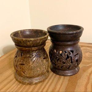 Carved Marble Candle Votive Set